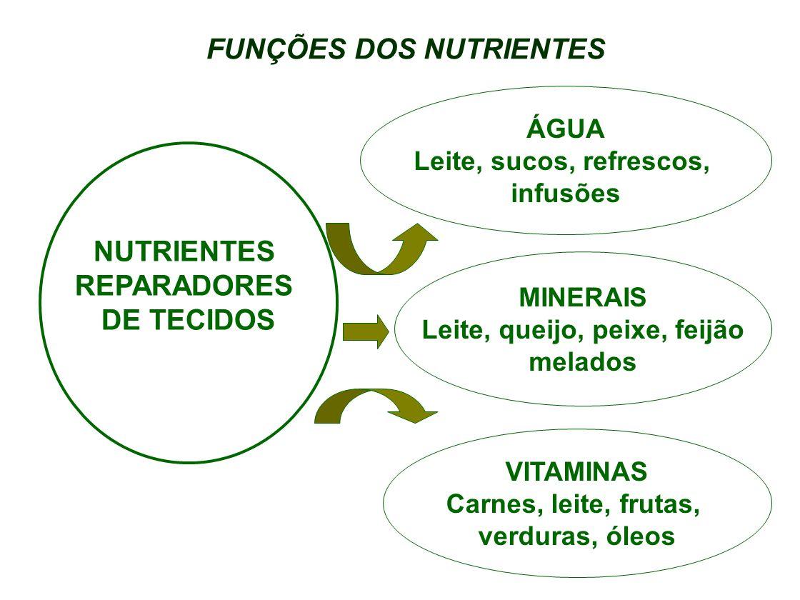 FUNÇÕES DOS NUTRIENTES PROTÍDEOS Carne, leite, ovos leguminosas MINERAIS Leite, queijo, peixe, feijão, cereais, melados VITAMINAS Carnes, leite, frutas, verduras, óleos NUTRIENTES REGULADORES DOS PROCESSOS VITAIS CELULOSE Frutas, verduras, cereais