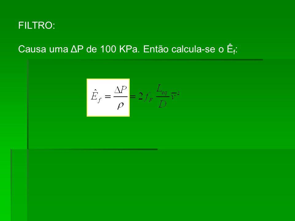 FILTRO: Causa uma ΔP de 100 KPa. Então calcula-se o Ê f :
