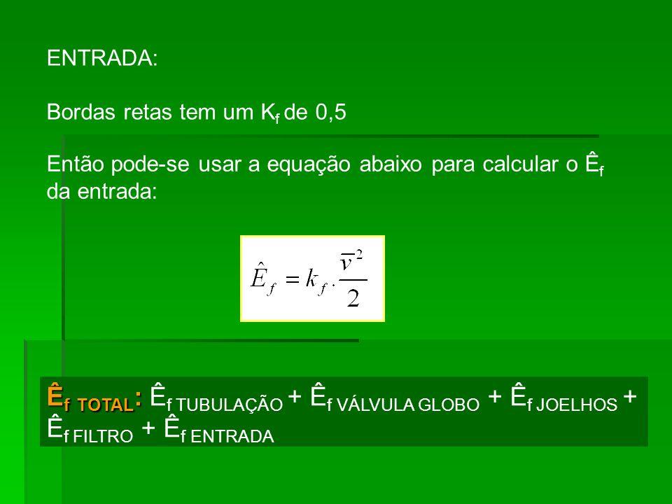 ENTRADA: Bordas retas tem um K f de 0,5 Então pode-se usar a equação abaixo para calcular o Ê f da entrada: Ê f TOTAL : Ê f TOTAL : Ê f TUBULAÇÃO + Ê