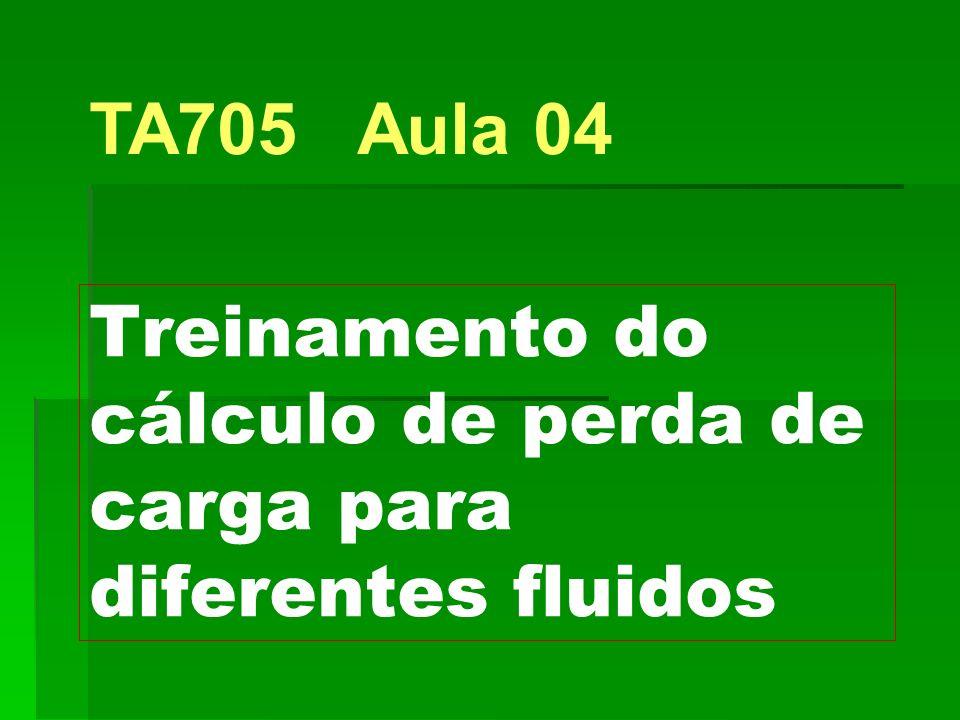 Treinamento do cálculo de perda de carga para diferentes fluidos TA705 Aula 04