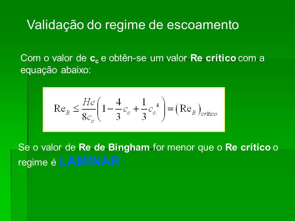 Validação do regime de escoamento Com o valor de c c e obtên-se um valor Re crítico com a equação abaixo: Se o valor de Re de Bingham for menor que o