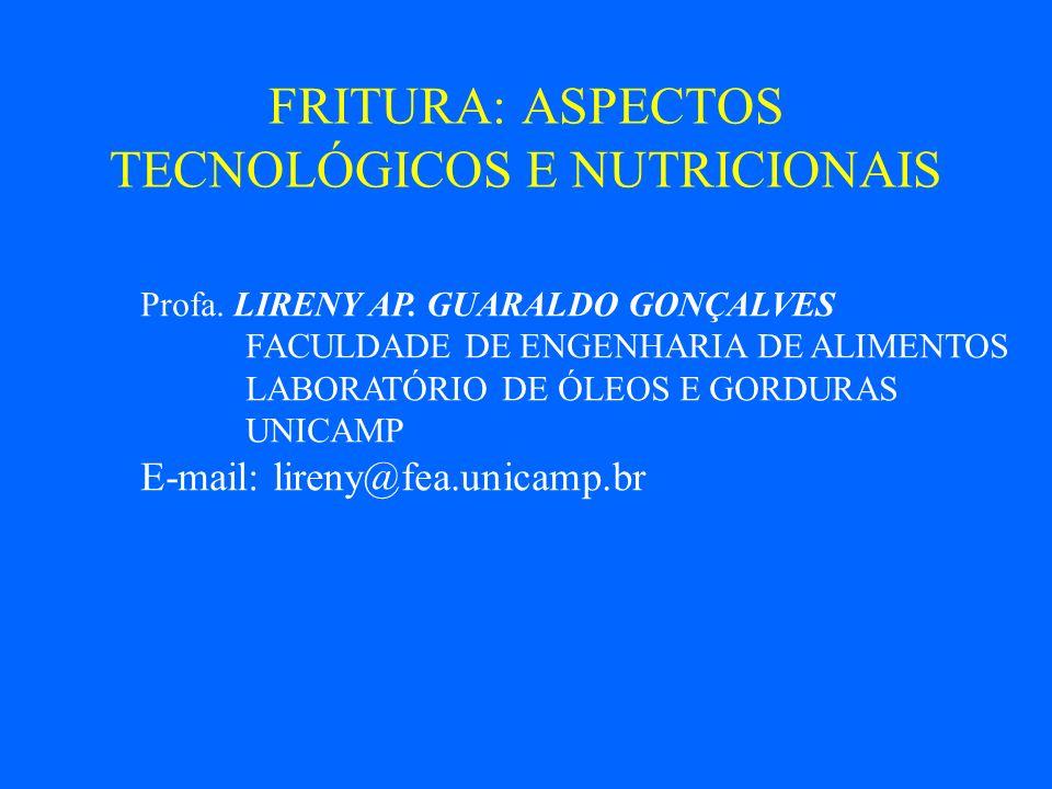 FRITURA: ASPECTOS TECNOLÓGICOS E NUTRICIONAIS Profa.