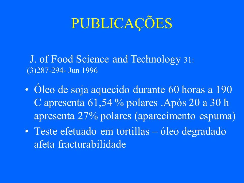 PUBLICAÇÕES INTERESSANTES J. AOCS 77: (3)223-229- Mar 2000 PERFORMANCE DE FRITURA DE ÓLEO DE SOJA COM BAIXO TEOR DE C 18:3 GMO TEM MESMAS CARACT. DE S