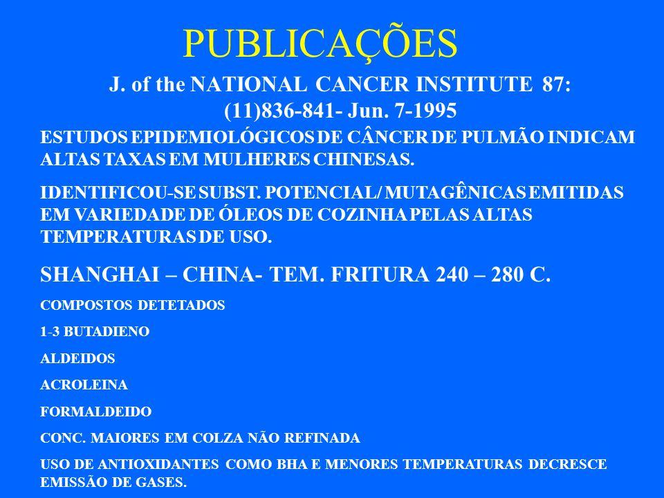 PUBLICAÇÕES CHEMOSPHERE, 38 : (11) 2467-2474- Mar. 1999 OXIDAÇÃO ÓLEOS DE COLZA A 550 C EM REATOR FORNECE ALTAS CONCENTRAÇÕES DE ACROLEINA E OUTROS AL