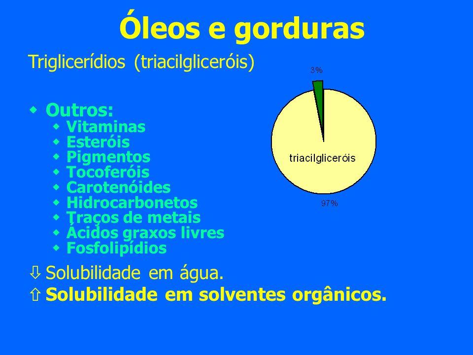 Óleos e gorduras Triglicerídios (triacilgliceróis) Outros: Vitaminas Esteróis Pigmentos Tocoferóis Carotenóides Hidrocarbonetos Traços de metais Ácidos graxos livres Fosfolipídios Solubilidade em água.