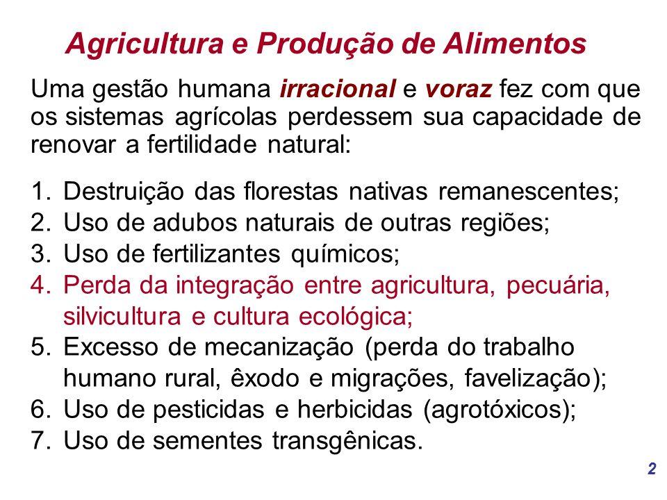 2 Agricultura e Produção de Alimentos Uma gestão humana irracional e voraz fez com que os sistemas agrícolas perdessem sua capacidade de renovar a fertilidade natural: 1.Destruição das florestas nativas remanescentes; 2.Uso de adubos naturais de outras regiões; 3.Uso de fertilizantes químicos; 4.Perda da integração entre agricultura, pecuária, silvicultura e cultura ecológica; 5.Excesso de mecanização (perda do trabalho humano rural, êxodo e migrações, favelização); 6.Uso de pesticidas e herbicidas (agrotóxicos); 7.Uso de sementes transgênicas.