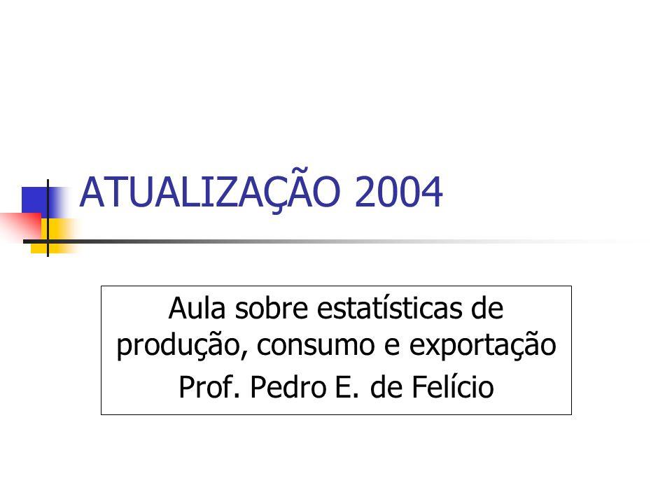ATUALIZAÇÃO 2004 Aula sobre estatísticas de produção, consumo e exportação Prof. Pedro E. de Felício