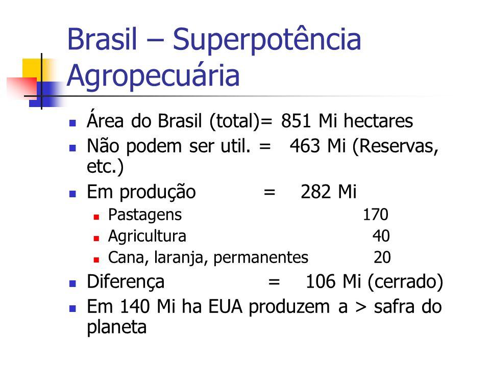 Brasil – Superpotência Agropecuária Área do Brasil (total)= 851 Mi hectares Não podem ser util. = 463 Mi (Reservas, etc.) Em produção = 282 Mi Pastage