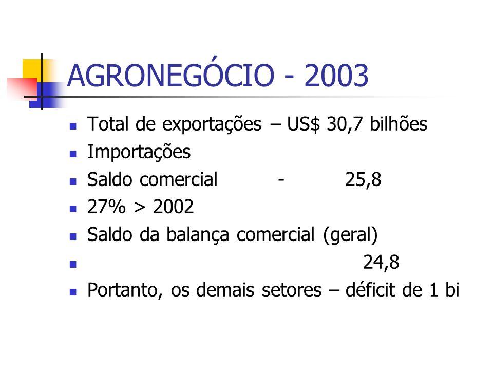 AGRONEGÓCIO - 2003 Total de exportações – US$ 30,7 bilhões Importações Saldo comercial - 25,8 27% > 2002 Saldo da balança comercial (geral) 24,8 Porta