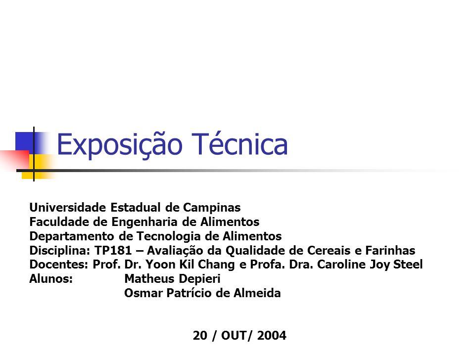 Exposição Técnica Universidade Estadual de Campinas Faculdade de Engenharia de Alimentos Departamento de Tecnologia de Alimentos Disciplina: TP181 – A