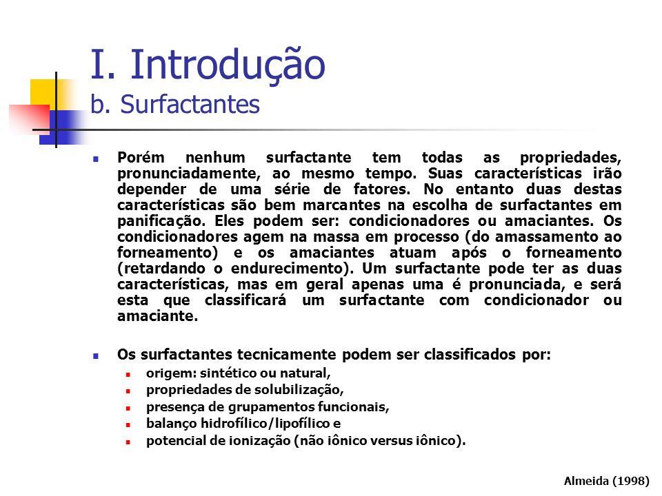 Porém nenhum surfactante tem todas as propriedades, pronunciadamente, ao mesmo tempo. Suas características irão depender de uma série de fatores. No e