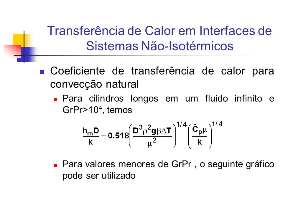 Transferência de Calor em Interfaces de Sistemas Não-Isotérmicos Coeficiente de transferência de calor para convecção natural Para cilindros longos em