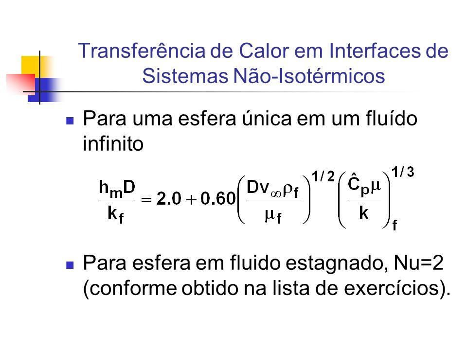 Para uma esfera única em um fluído infinito Para esfera em fluido estagnado, Nu=2 (conforme obtido na lista de exercícios).