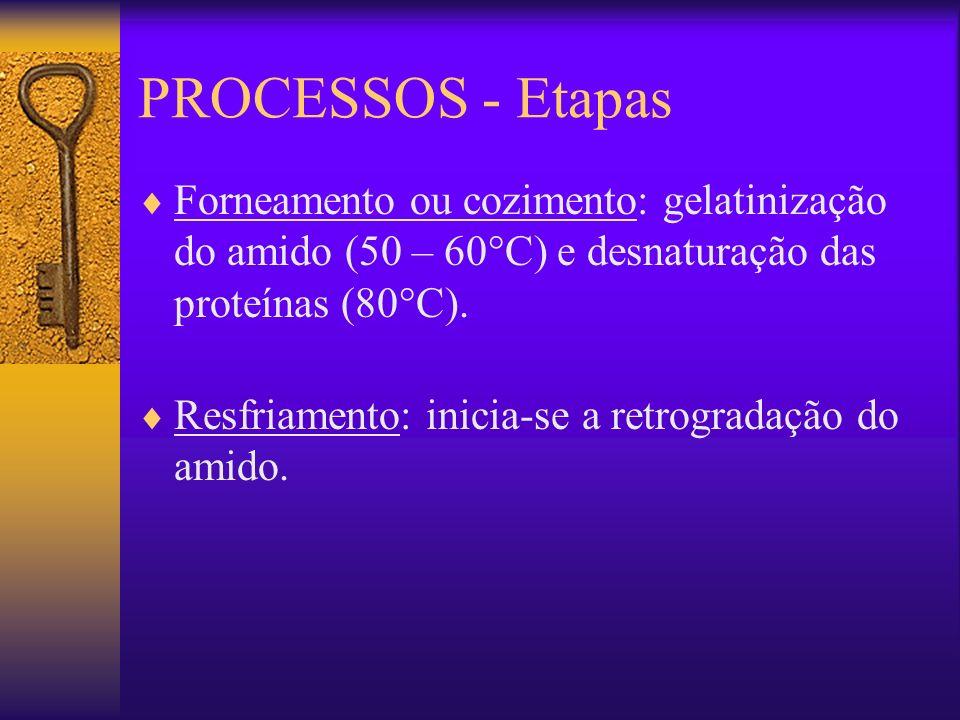 PROCESSOS - Etapas Forneamento ou cozimento: gelatinização do amido (50 – 60°C) e desnaturação das proteínas (80°C). Resfriamento: inicia-se a retrogr