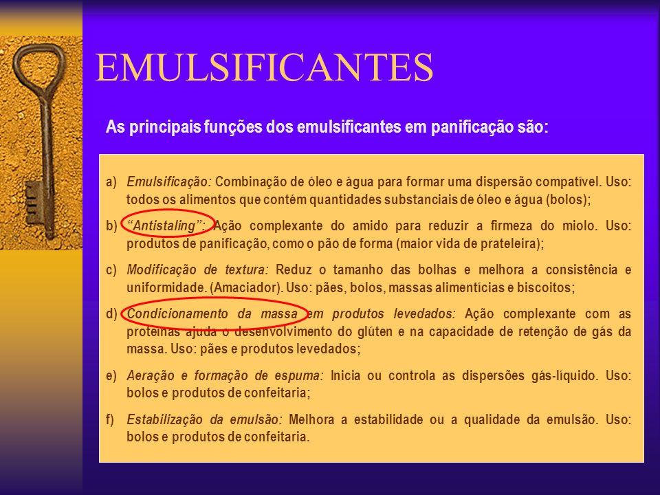 EMULSIFICANTES As principais funções dos emulsificantes em panificação são: a) Emulsificação: Combinação de óleo e água para formar uma dispersão comp