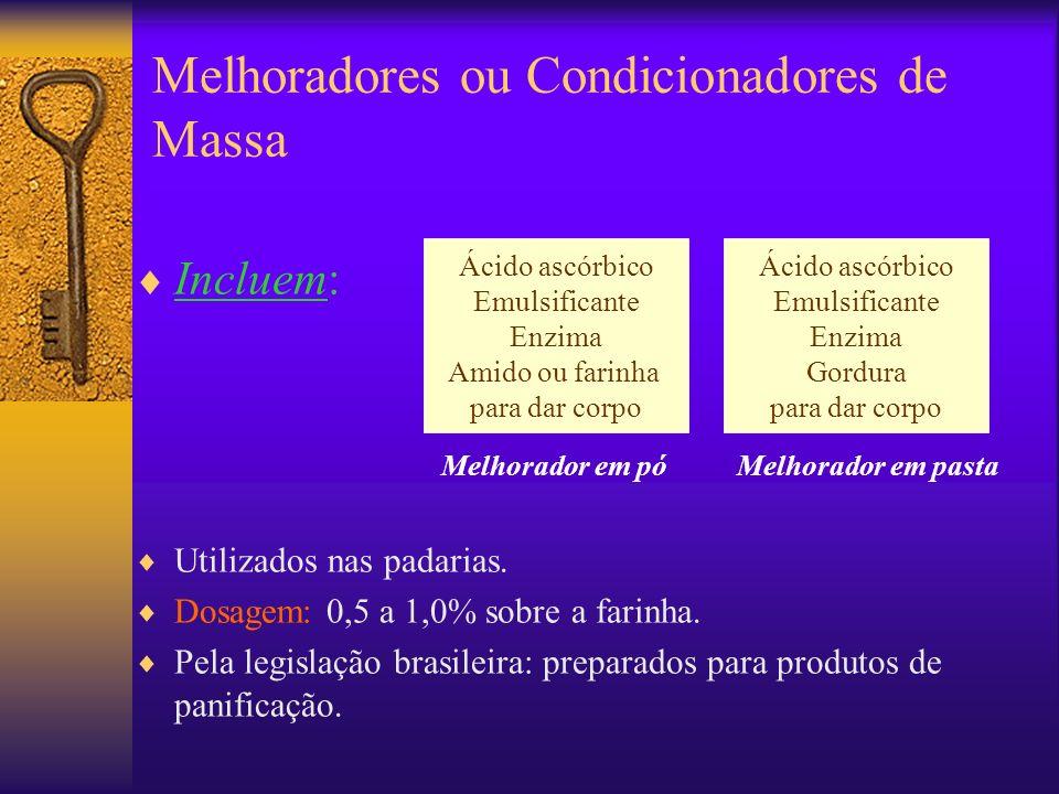 Incluem: Utilizados nas padarias. Dosagem: 0,5 a 1,0% sobre a farinha. Pela legislação brasileira: preparados para produtos de panificação. Ácido ascó