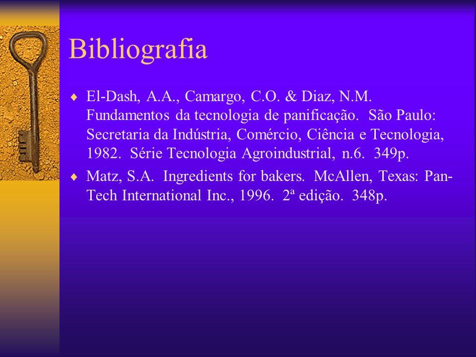 Bibliografia El-Dash, A.A., Camargo, C.O. & Diaz, N.M. Fundamentos da tecnologia de panificação. São Paulo: Secretaria da Indústria, Comércio, Ciência