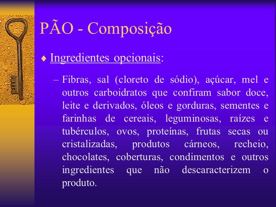 PÃO - Composição Ingredientes opcionais: –Fibras, sal (cloreto de sódio), açúcar, mel e outros carboidratos que confiram sabor doce, leite e derivados