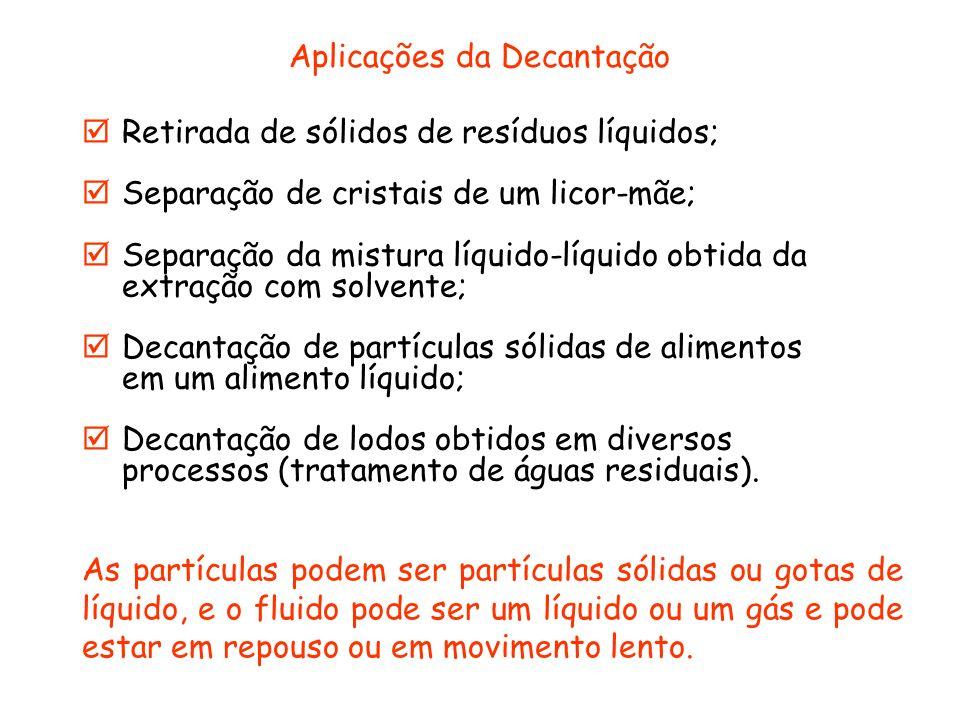 Aplicações da Decantação Retirada de sólidos de resíduos líquidos; Separação de cristais de um licor-mãe; Separação da mistura líquido-líquido obtida