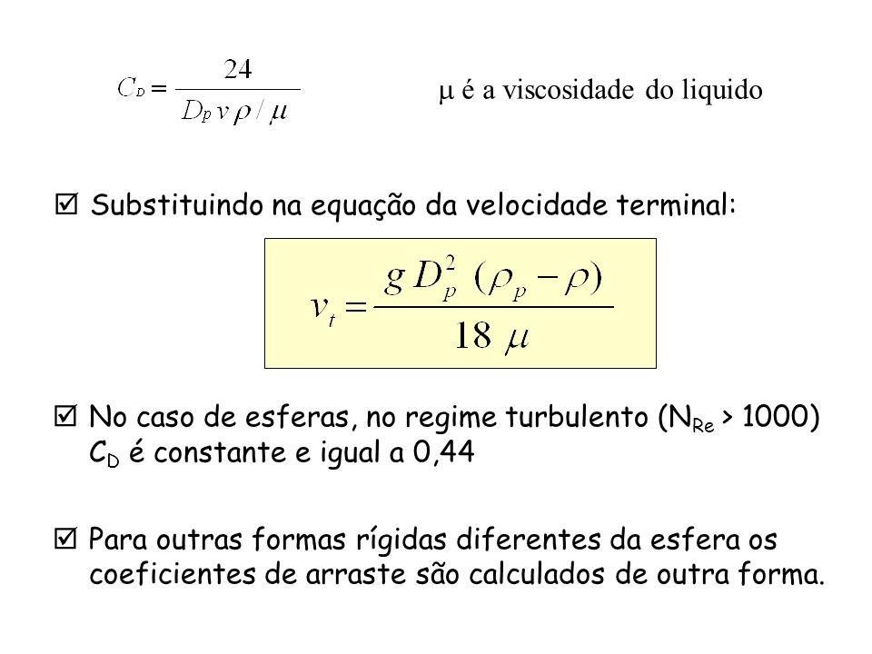 No caso de esferas, no regime turbulento (N Re > 1000) C D é constante e igual a 0,44 Para outras formas rígidas diferentes da esfera os coeficientes
