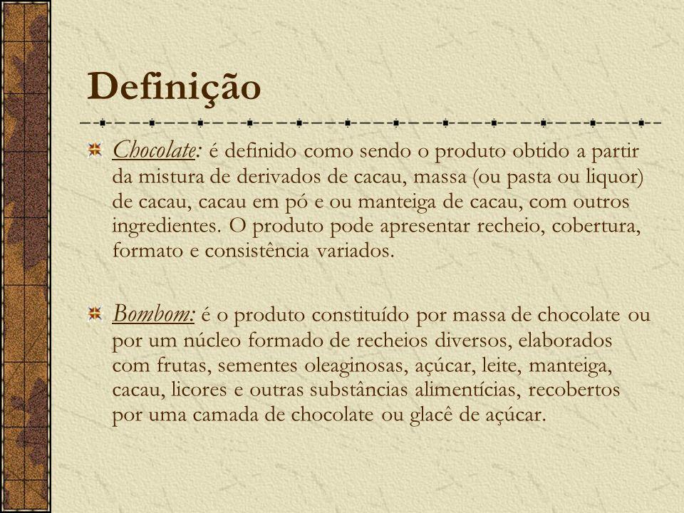 Definição Chocolate: é definido como sendo o produto obtido a partir da mistura de derivados de cacau, massa (ou pasta ou liquor) de cacau, cacau em pó e ou manteiga de cacau, com outros ingredientes.
