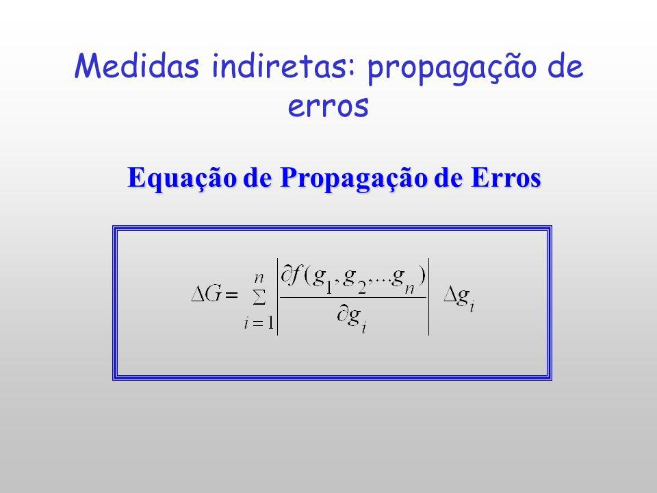 Grandeza G é função das variáveis g i (ex: propriedades físicas): G = f ( g 1, g 2,..., g n ) g 1, g 2,..., g n – grandezas obtidas por medição direta