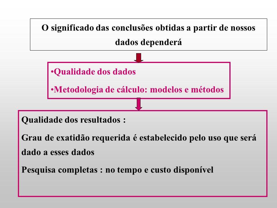 O significado das conclusões obtidas a partir de nossos dados dependerá Qualidade dos dados Metodologia de cálculo: modelos e métodos Qualidade dos resultados : Grau de exatidão requerida é estabelecido pelo uso que será dado a esses dados Pesquisa completas : no tempo e custo disponível