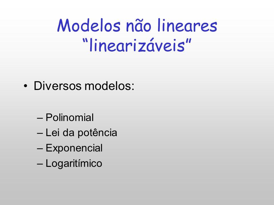 Análise gráfica: regressão não-linear Modelos não-lineares: Linearizável –Equação pode ser convertida em modelo linear. Não linearizável –A transforma