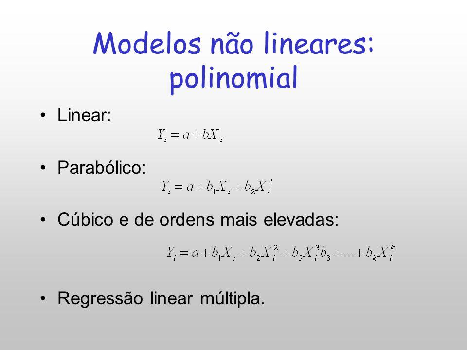 Modelos não lineares linearizáveis Diversos modelos: –Polinomial –Lei da potência –Exponencial –Logaritímico