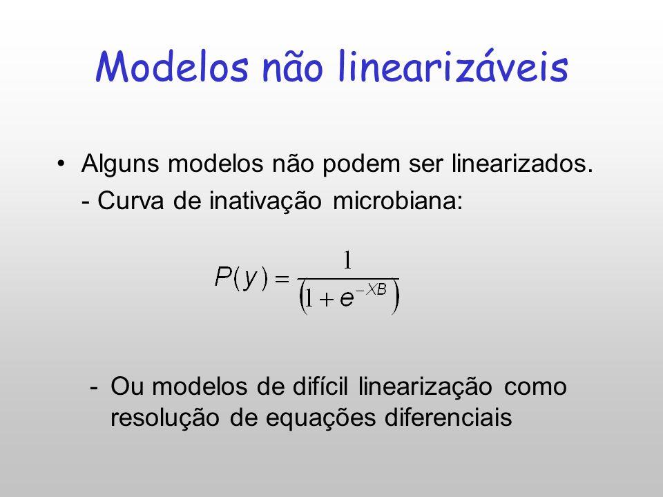 Modelos não lineares: Exponencial Modelo de crescimento exponencial: Linearizado: