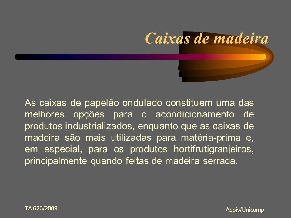 TA 623/2009 Assis/Unicamp Outras embalagens celulósicas Caixas de madeira Sacos Têxteis Tambores de Fibra Barril de Madeira Paletes