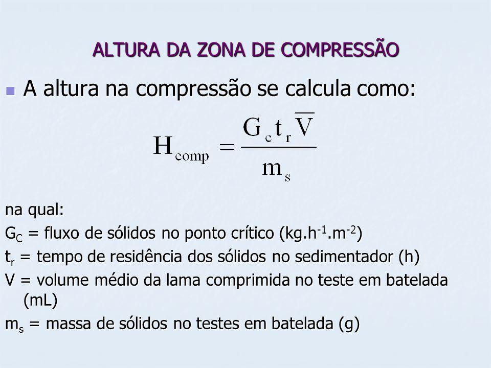 ALTURA DA ZONA DE COMPRESSÃO A altura na compressão se calcula como: A altura na compressão se calcula como: na qual: G C = fluxo de sólidos no ponto crítico (kg.h -1.m -2 ) t r = tempo de residência dos sólidos no sedimentador (h) V = volume médio da lama comprimida no teste em batelada (mL) m s = massa de sólidos no testes em batelada (g)