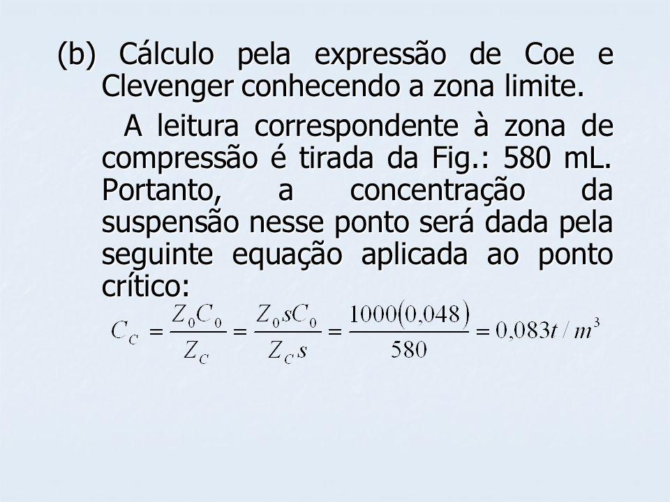(b) Cálculo pela expressão de Coe e Clevenger conhecendo a zona limite. A leitura correspondente à zona de compressão é tirada da Fig.: 580 mL. Portan