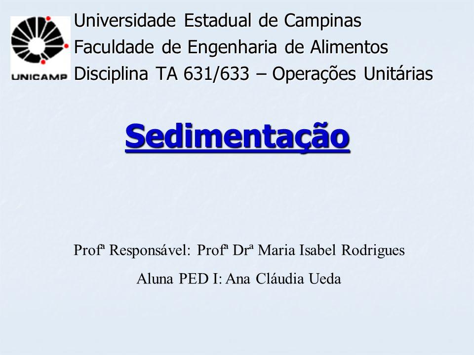 Sedimentação Universidade Estadual de Campinas Faculdade de Engenharia de Alimentos Disciplina TA 631/633 – Operações Unitárias Profª Responsável: Pro