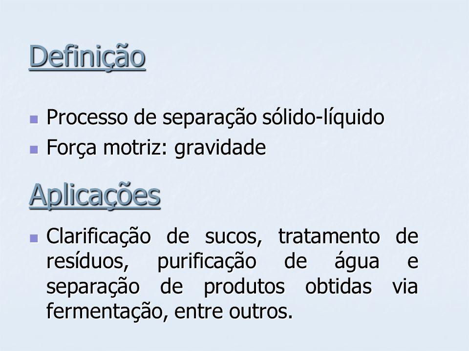 Definição Processo de separação sólido-líquido Processo de separação sólido-líquido Força motriz: gravidade Força motriz: gravidadeAplicações Clarificação de sucos, tratamento de resíduos, purificação de água e separação de produtos obtidas via fermentação, entre outros.