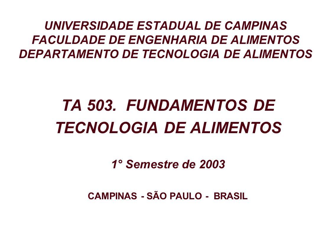 UNIVERSIDADE ESTADUAL DE CAMPINAS FACULDADE DE ENGENHARIA DE ALIMENTOS DEPARTAMENTO DE TECNOLOGIA DE ALIMENTOS TA 503. FUNDAMENTOS DE TECNOLOGIA DE AL