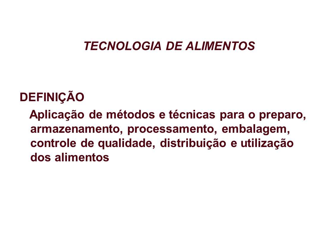 TECNOLOGIA DE ALIMENTOS DEFINIÇÃO Aplicação de métodos e técnicas para o preparo, armazenamento, processamento, embalagem, controle de qualidade, dist