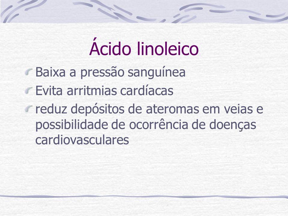 Ácido linoleico Baixa a pressão sanguínea Evita arritmias cardíacas reduz depósitos de ateromas em veias e possibilidade de ocorrência de doenças card