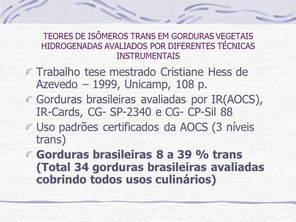 TEORES DE ISÔMEROS TRANS EM GORDURAS VEGETAIS HIDROGENADAS AVALIADOS POR DIFERENTES TÉCNICAS INSTRUMENTAIS Trabalho tese mestrado Cristiane Hess de Az