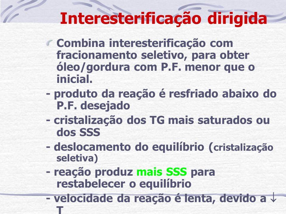 Interesterificação dirigida Combina interesterificação com fracionamento seletivo, para obter óleo/gordura com P.F. menor que o inicial. - produto da
