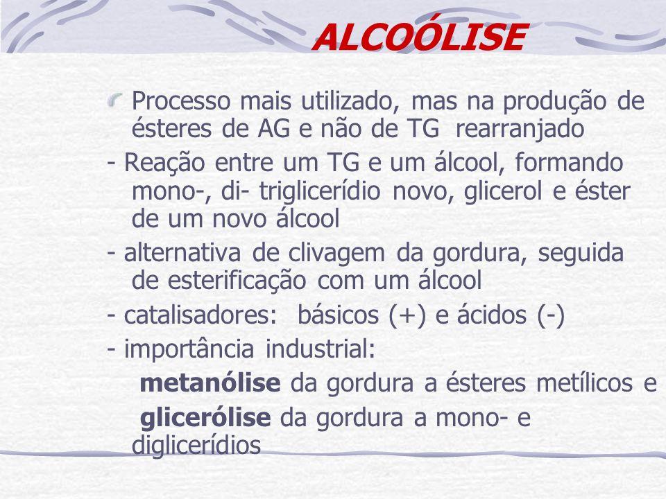 ALCOÓLISE Processo mais utilizado, mas na produção de ésteres de AG e não de TG rearranjado - Reação entre um TG e um álcool, formando mono-, di- trig