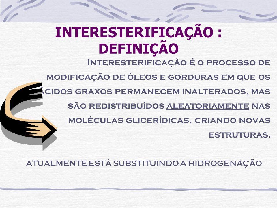 INTERESTERIFICAÇÃO : DEFINIÇÃO Interesterificação é o processo de modificação de óleos e gorduras em que os ácidos graxos permanecem inalterados, mas
