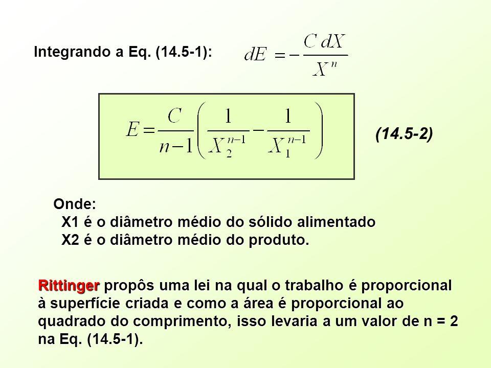 (14.5-2) Onde: X1 é o diâmetro médio do sólido alimentado X1 é o diâmetro médio do sólido alimentado X2 é o diâmetro médio do produto. X2 é o diâmetro