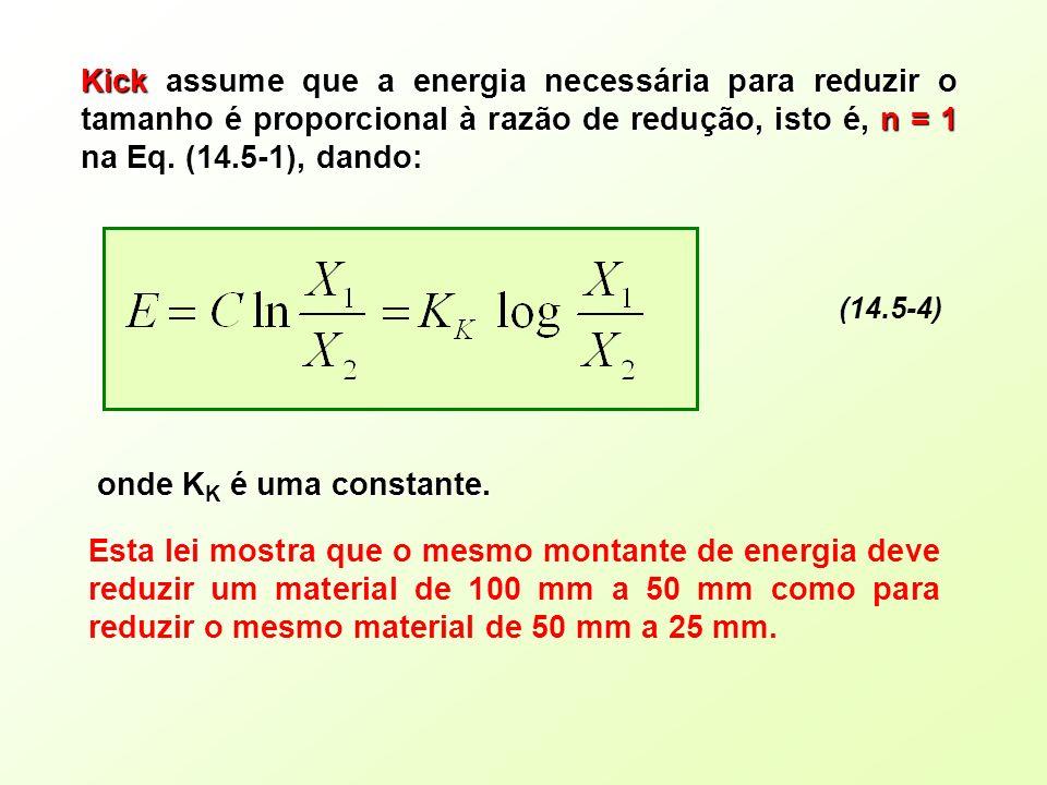 (14.5-4) Kick assume que a energia necessária para reduzir o tamanho é proporcional à razão de redução, isto é, n = 1 na Eq. (14.5-1), dando: onde K K