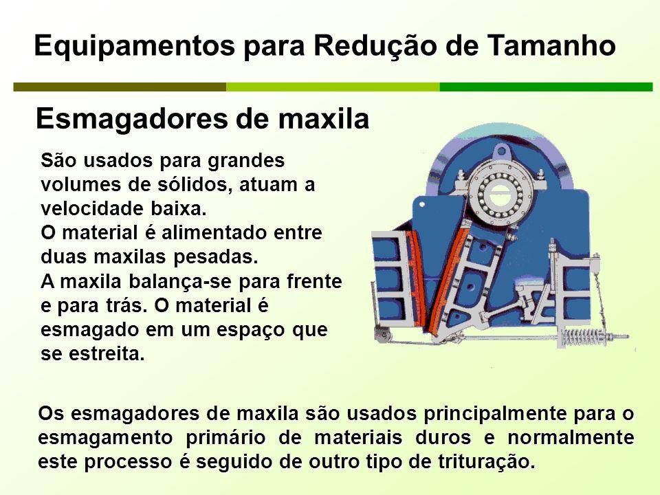 Equipamentos para Redução de Tamanho São usados para grandes volumes de sólidos, atuam a velocidade baixa. O material é alimentado entre duas maxilas