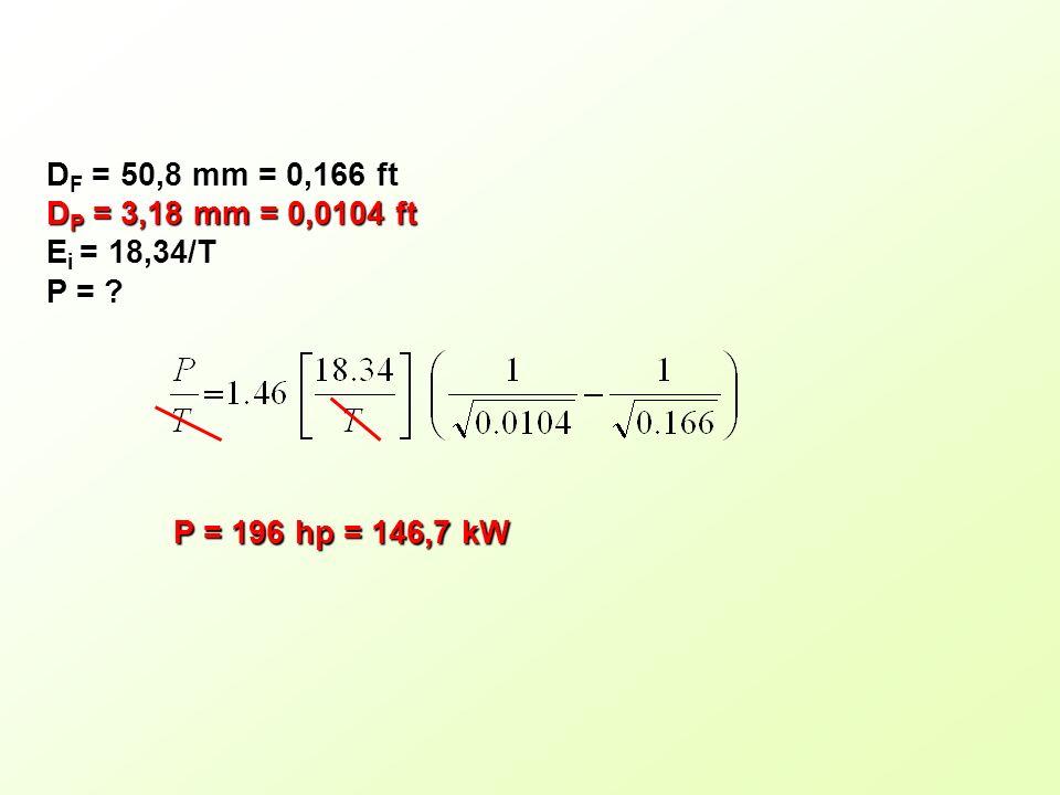 D F = 50,8 mm = 0,166 ft D P = 3,18 mm = 0,0104 ft E i = 18,34/T P = ? P = 196 hp = 146,7 kW