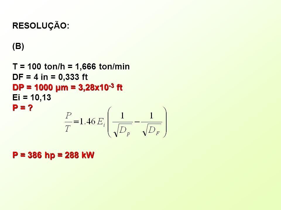RESOLUÇÃO:(B) T = 100 ton/h = 1,666 ton/min DF = 4 in = 0,333 ft DP = 1000 μm = 3,28x10 -3 ft Ei = 10,13 P = ? P = 386 hp = 288 kW
