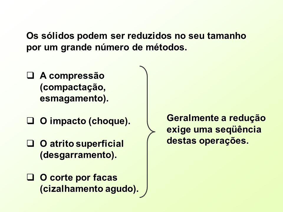 Os sólidos podem ser reduzidos no seu tamanho por um grande número de métodos. A compressão (compactação, esmagamento). A compressão (compactação, esm