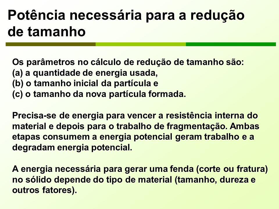 Potência necessária para a redução de tamanho Os parâmetros no cálculo de redução de tamanho são: (a) a quantidade de energia usada, (b) o tamanho ini