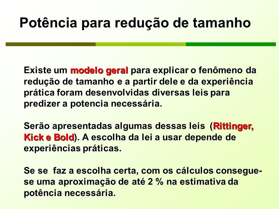 Potência para redução de tamanho Existe um modelo geral para explicar o fenômeno da redução de tamanho e a partir dele e da experiência prática foram